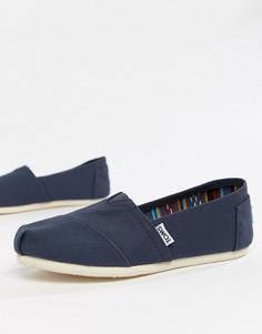 Темно-синие классические парусиновые туфли на плоской подошве TOMS-Синий