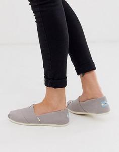 Серые туфли на плоской подошве из материалов неживотного происхождения TOMS Alpargata Earthwise-Серый