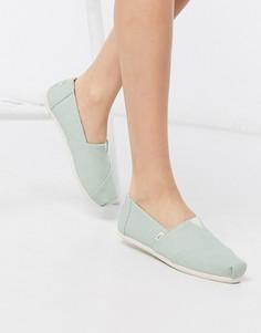 Мятные парусиновые туфли на плоской подошве TOMS Alpargata-Зеленый