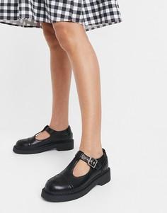 Черные туфли на плоской подошве Lamoda Mary Jane-Черный