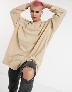 Длинная oversized-футболка с длинным рукавом бежевого цвета ASOS DESIGN-Бежевый