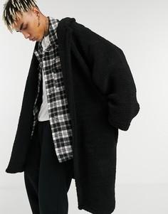 Черное плюшевое oversized-пальто ASOS DESIGN-Черный