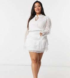 Белое свободное кружевное платье с воротником-стойкой с завязкой In The Style Plus x Lorna Luxe-Мульти