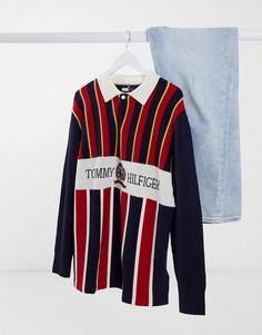Трикотажная футболка-поло с логотипом на груди Tommy Hilfiger Collections-Красный