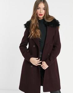Двубортное пальто бордового цвета с воротником из искусственного меха Morgan-Темно-синий