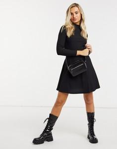 Черное платье мини с высоким воротником New Look-Черный