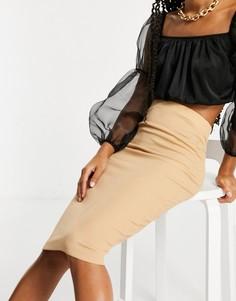 Базовая юбка мидакси бежевого цвета Flounce London-Светло-коричневый