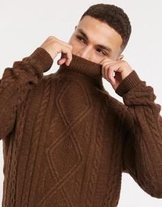 Шоколадно-коричневый джемпер из овечьей шерсти с высоким воротником и вязкой косами ASOS DESIGN