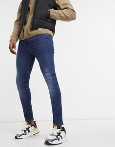 Укороченные супероблегающие джинсы до щиколотки ASOS DESIGN в выбеленном темно-синем цвете с эффектом потертости-Синий