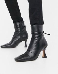 Черные кожаные ботинки на каблуке ASOS DESIGN Ryder-Черный