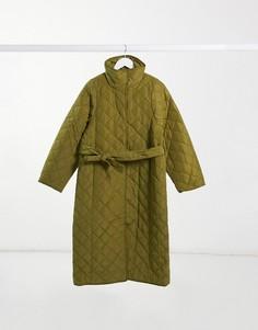 Стеганое пальто из переработанного материала цвета хаки с поясом на талии & Other Stories-Синий