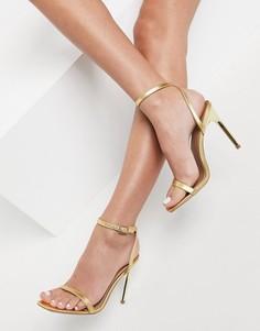 Легкие босоножки на каблуке золотистого цвета ASOS DESIGN Nova-Золотой