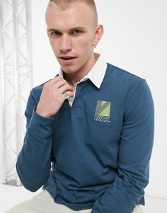 Спортивная рубашка-поло с длинными рукавами в стиле ретро Vans-Синий