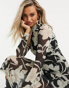 Черное платье макси с длинными сетчатыми рукавами с цветочным принтом AllSaints Hanna Jardin-Черный