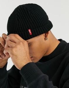 Черная шапка-бини в рубчик с небольшим логотипом Levis-Черный Levis®