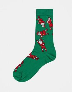 Высокие носки с танцующим Санта Клаусом ASOS DESIGN-Мульти