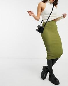 Фактурная юбка-карандаш цвета хаки ASOS DESIGN-Зеленый