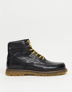Черные кожаные ботинки со шнуровкой и контрастной подошвой Jack & Jones-Черный