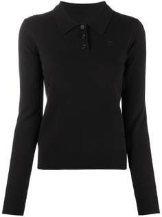 Maison Margiela рубашка поло с длинными рукавами и вышитой монограммой