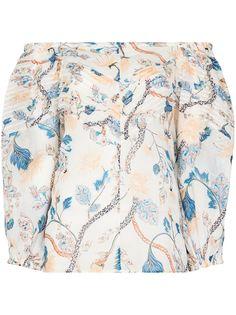 Chloé блузка с открытыми плечами и цветочным принтом
