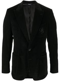 Dolce & Gabbana вельветовый пиджак с вышитым логотипом