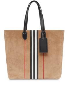 Burberry большая сумка-тоут с принтом Icon Stripe