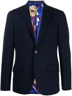 Etro пиджак с узором в елочку