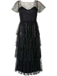 Marchesa Notte ярусное коктейльное платье с блестками