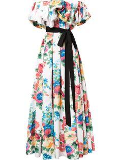 Carolina Herrera вечернее платье с открытыми плечами и оборками
