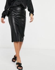 Черная юбка-карандаш миди из искусственной кожи River Island-Черный