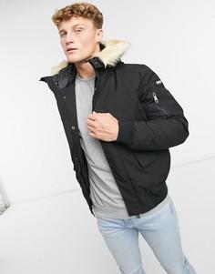 Черная утепленная куртка-бомбер с искусственным мехом на капюшоне Schott Keyburn-Черный