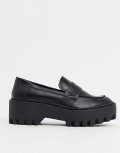 Черные туфли на массивной плоской подошве Truffle Collection-Черный