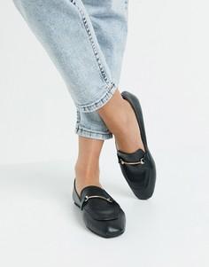 Черные с золотистой отделкой туфли на плоской подошве с мягким квадратным носком RAID Vella-Черный