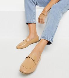 Бежевые с золотистой отделкой туфли на плоской подошве с мягким квадратным носком RAID Wide Fit Vella-Бежевый