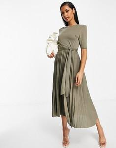 Платье миди цвета хаки с поясом и плиссированной юбкой ASOS DESIGN-Зеленый