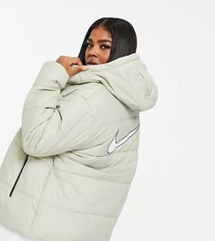 Белый пуховик с логотипом на спине Nike Plus-Кремовый