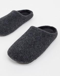 Черные меланжевые тапочки ASOS DESIGN-Черный