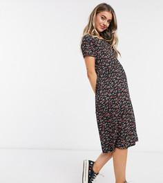 Свободное платье миди с мелким цветочным принтом Wednesdays Girl-Черный