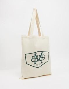 Бежевая парусиновая сумка-тоут для тяжелых вещей с принтом в виде эмблемы ASOS DESIGN-Черный
