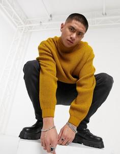 Вязаный в рубчик свитер в стиле oversized с высоким воротником в горчичном цвете ASOS DESIGN-Желтый