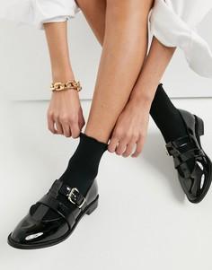 Черные лакированные туфли на плоской подошве ASOS DESIGN Meadow-Черный