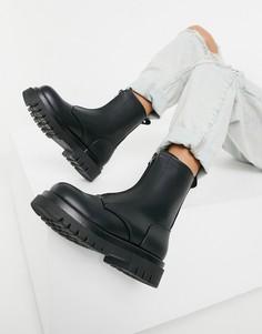 Черные массивные ботинки c молнией спереди Truffle Collection под крокодиловую кожу-Черный