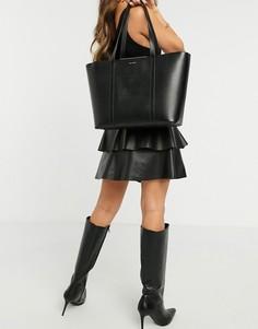 Черная сумка-тоут из сафьяновой кожи с отделкой полосами Ted Baker Kimiaa-Черный