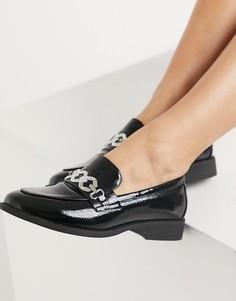 Черные лоферы со стразами Glamorous-Черный