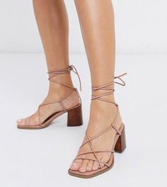 Бежевые босоножки для широкой стопы на блочном каблуке с ремешками ASOS DESIGN-Бежевый