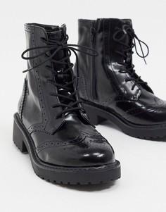 Черные броги со шнуровкой London Rebel-Черный