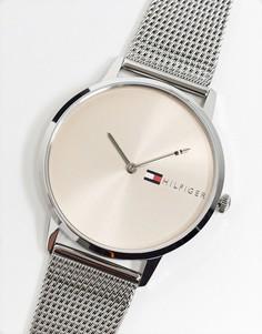 Серебристые женские часы с сетчатым ремешком Tommy Hilfiger 1781970-Серебряный