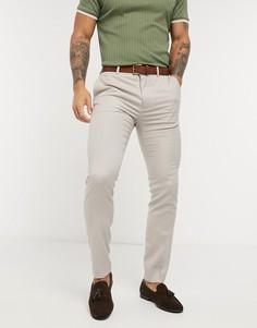 Светло-бежевые зауженные костюмные брюки Topman-Светло-бежевый