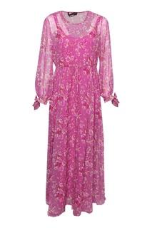 Розовое шелковое платье с принтом Marina Rinaldi