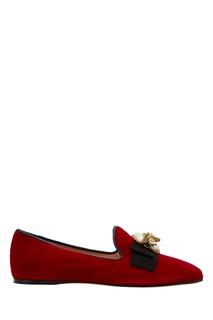 Красные бархатные лоферы Etoile Gucci